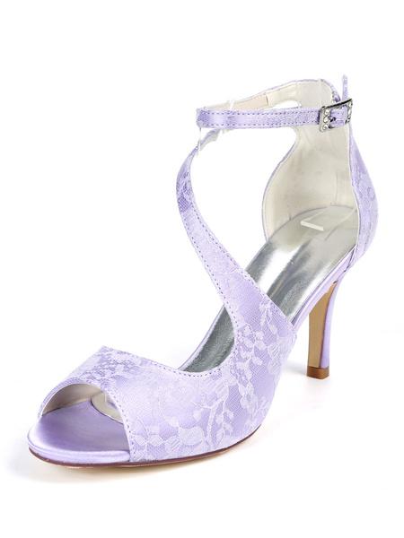 Milanoo Elegant Bridal Shoes White Lace Open Toe Stiletto Heel Wedding Shoes
