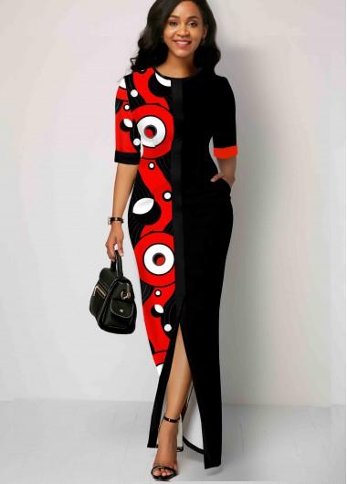 Black Dresses Side Pocket Geometric Print Slit Hem Maxi Dress - S