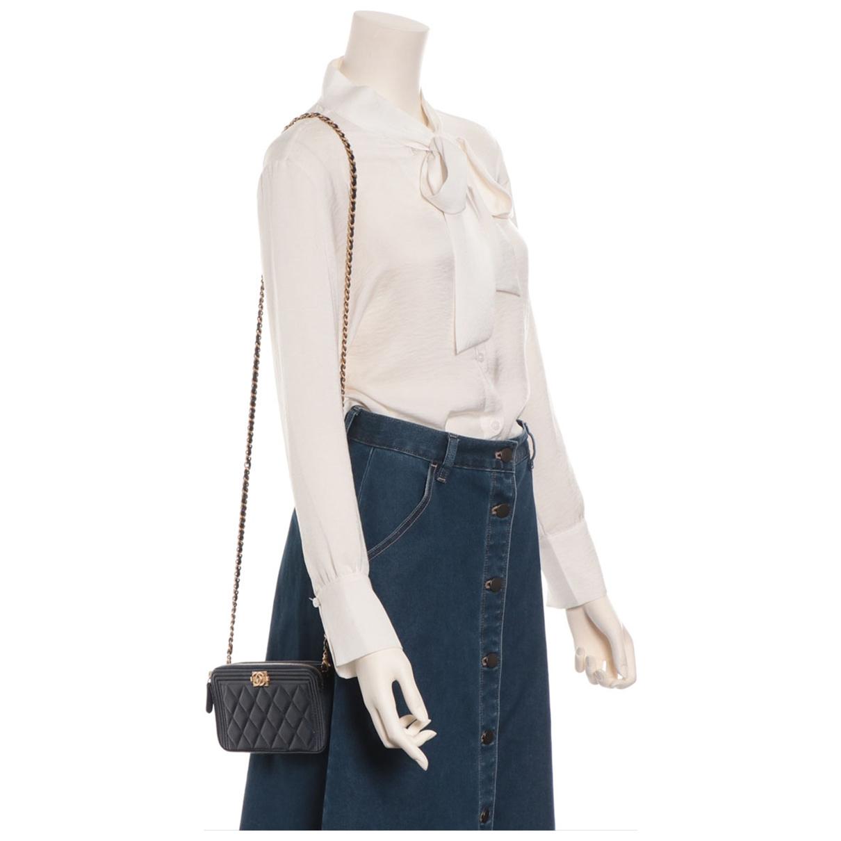 Chanel - Sac a main   pour femme en cuir - marine