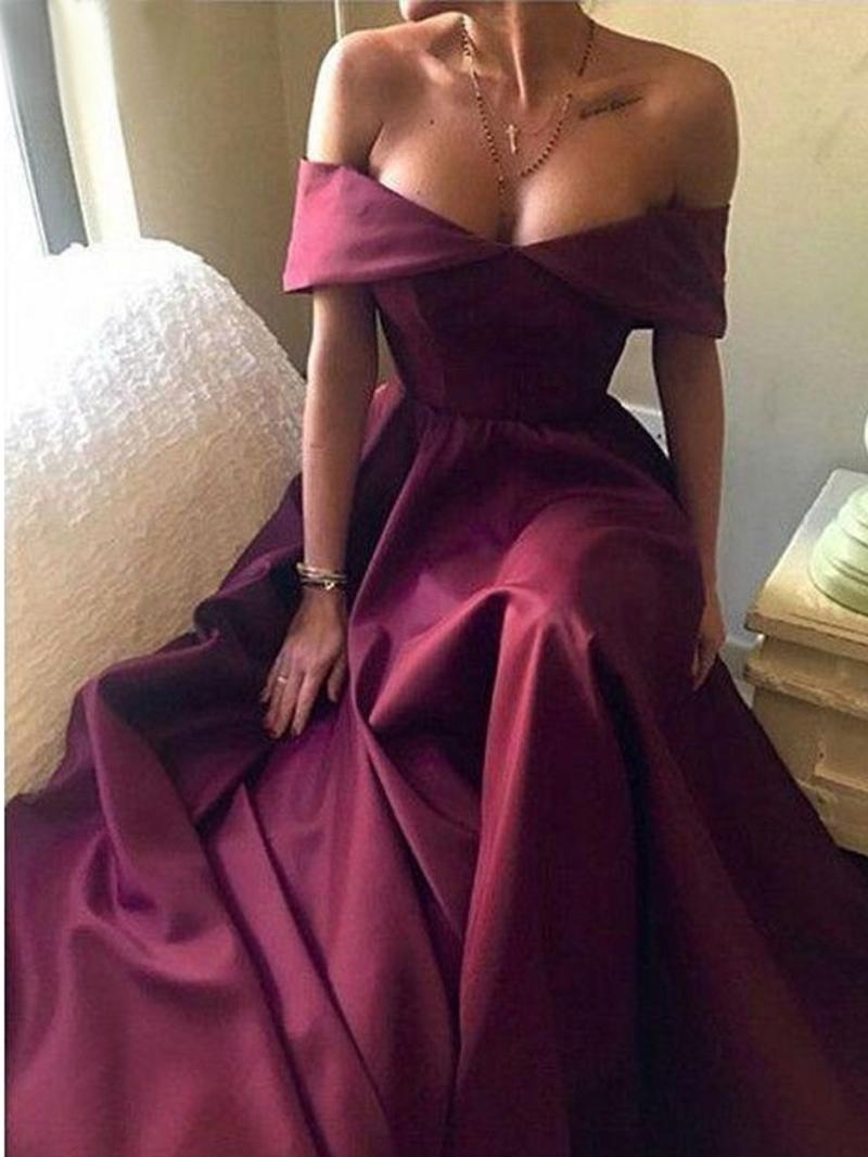 Ericdress Off-The-Shoulder A-Line Short Sleeves Evening Dress