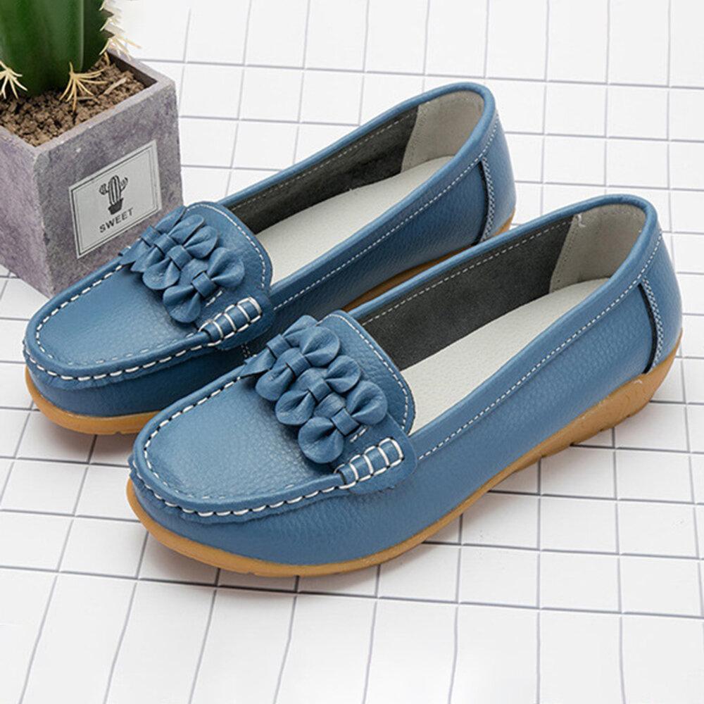 Women Bowknot Handmade Stitching Slip On Casual Flat Loafers
