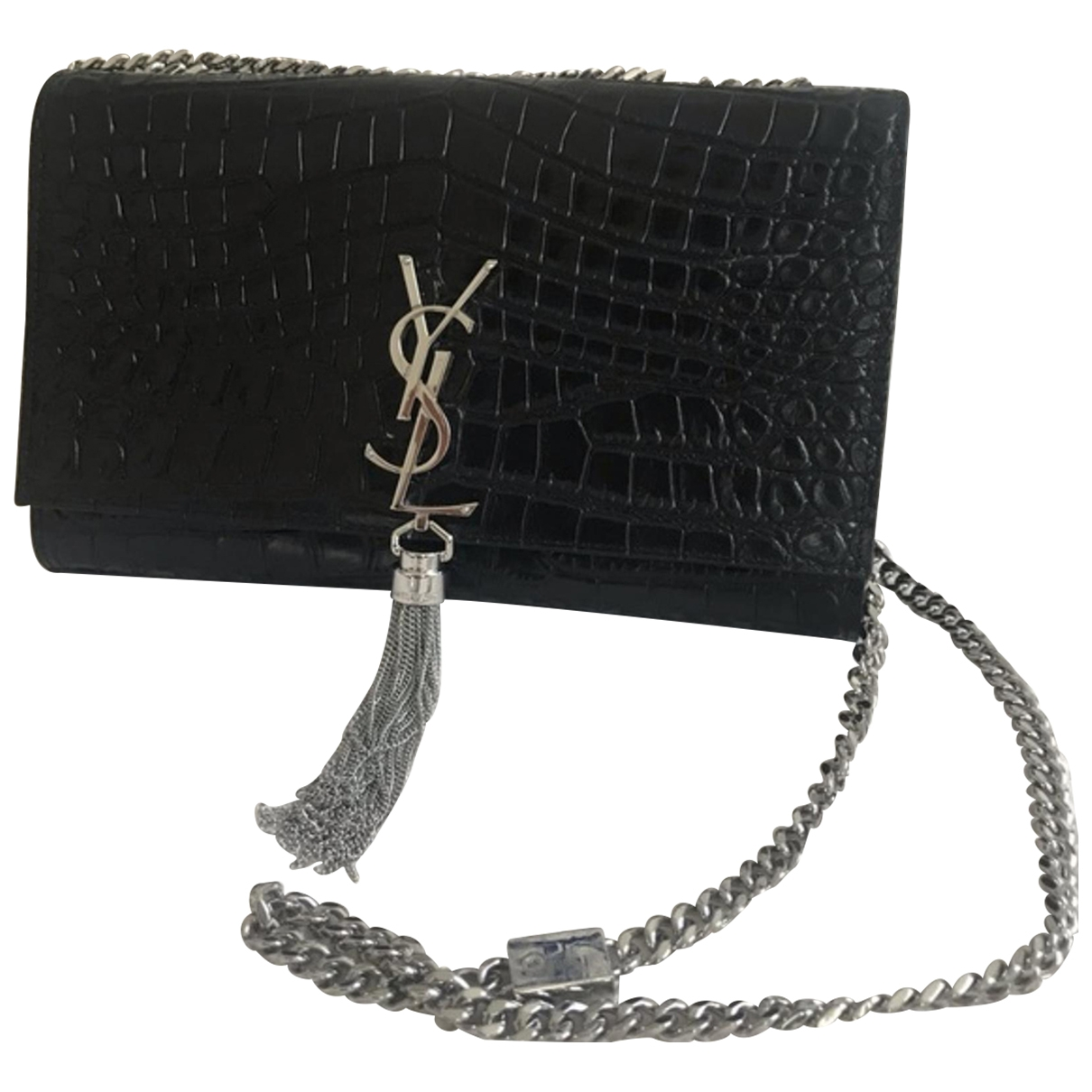 Saint Laurent Pompom Kate Handtasche in  Schwarz Leder