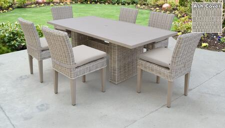 Coast Collection COAST-DTREC-KIT-6C-ASH Patio Dining Set With 1 Table  6 Side Chairs - Beige and Ash
