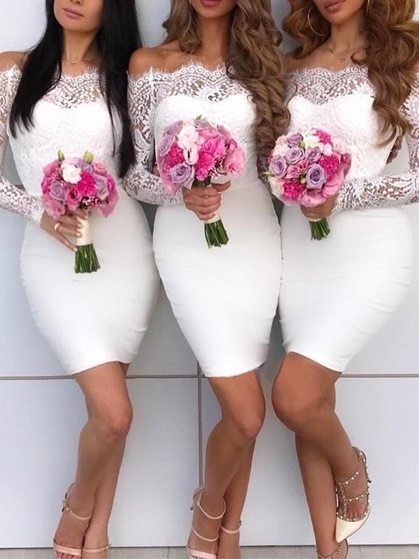 Off-The-Shoulder Short Long Sleeves Wedding Bridesmaid Dress
