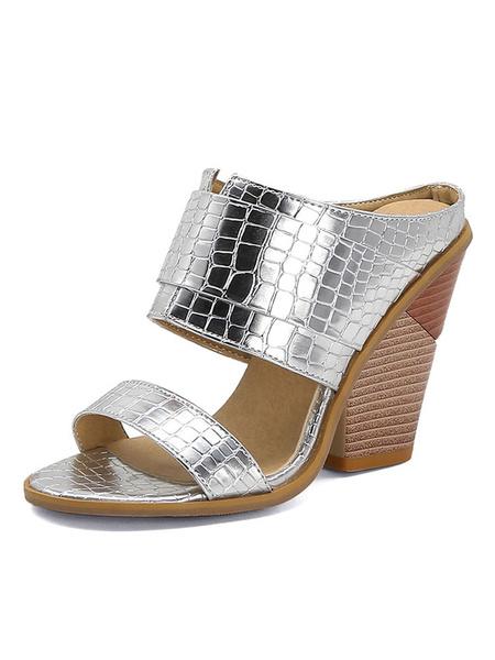 Milanoo Mujeres Mula zapatos blancos punta abierta del tacon Chunky sandalia de los deslizadores