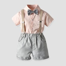 Kleinkind Jungen Hemd mit Schleife & Shorts mit Karo Muster und Traeger
