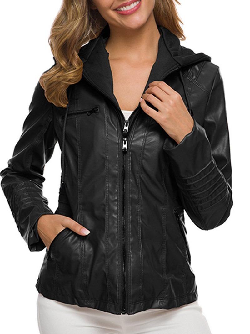 Ericdress Slim Zipper Standard Womens Fall PU Jacket