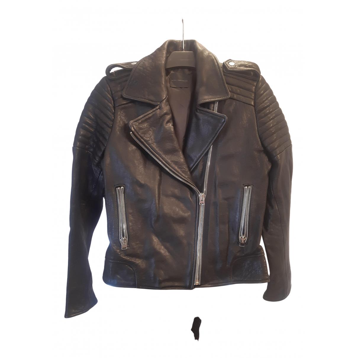 Hôtel Particulier N Black Leather Leather jacket for Women 38 FR