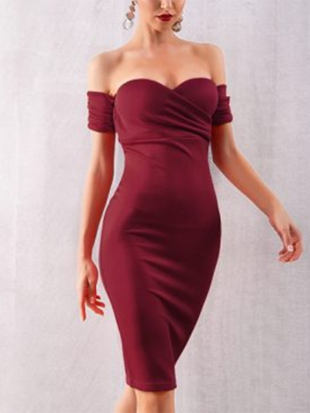 YOINS Burgundy Backless Wrap Off The Shoulder Short Sleeves Dress
