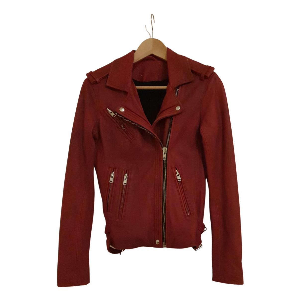 Iro - Blouson   pour femme en cuir - rouge