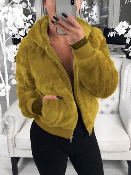 Milanoo Teddy Bear Coats Long Sleeves Hooded Jacket Zip Up Winter Coat With Pockets