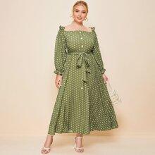 Kleid mit Punkten Muster, Knopfen vorn und Selbstband