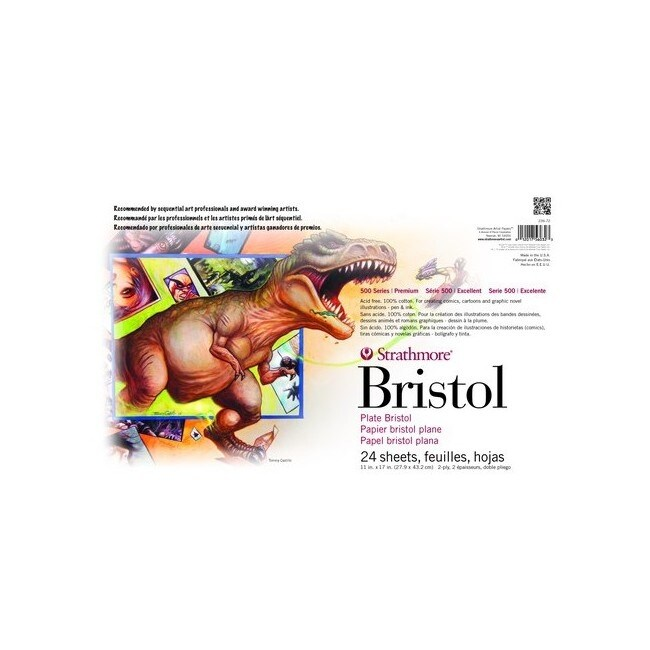 Strathmore / pacon papers 23672 sequential art 500 bristol 2ply plate 24 sheet 11x17