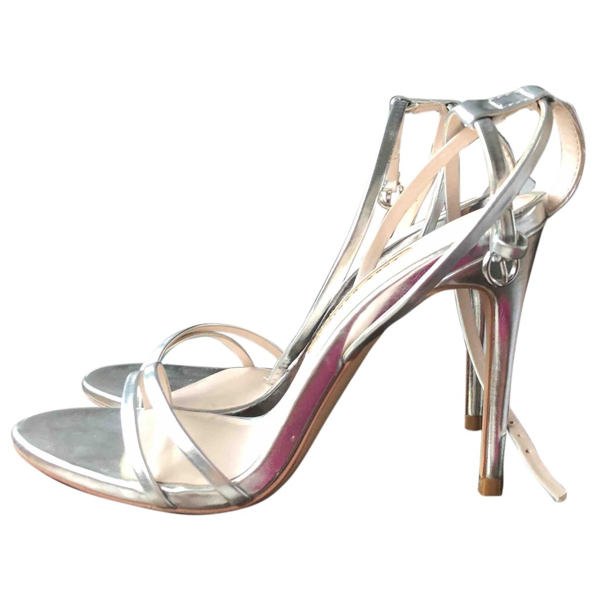 Zara N Silver Leather Heels for Women 39 EU