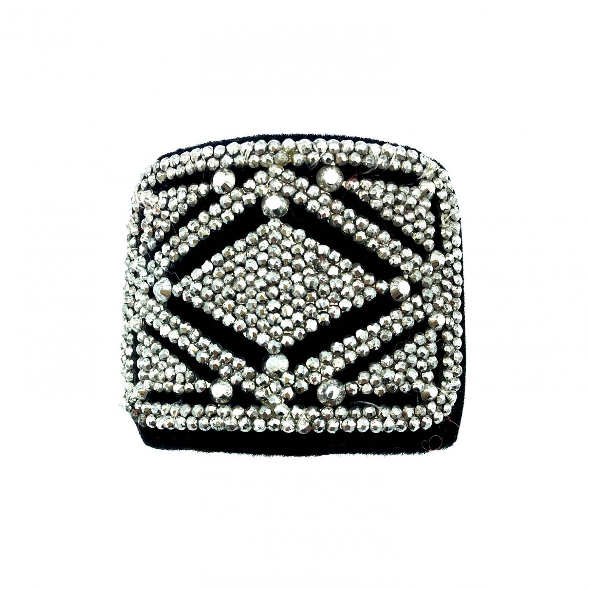 Non Signé / Unsigned Manchette Black Cloth bracelet for Women \N