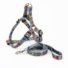1pc Chinese Peking Opera Pattern Dog Harness & 1pc Leash