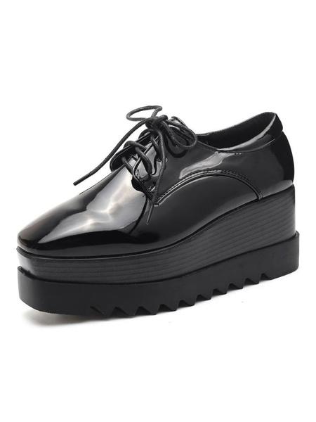 Milanoo Zapatos con cordones de plataforma con tacon de cuña de oxfords negros Zapatillas de deporte con punta cuadrada para mujer