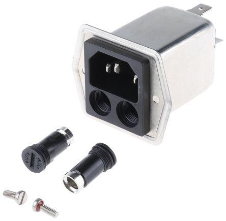 Schurter ,4A,250 V ac Male Panel Mount Filtered IEC Connector 5707.0401.312,Solder