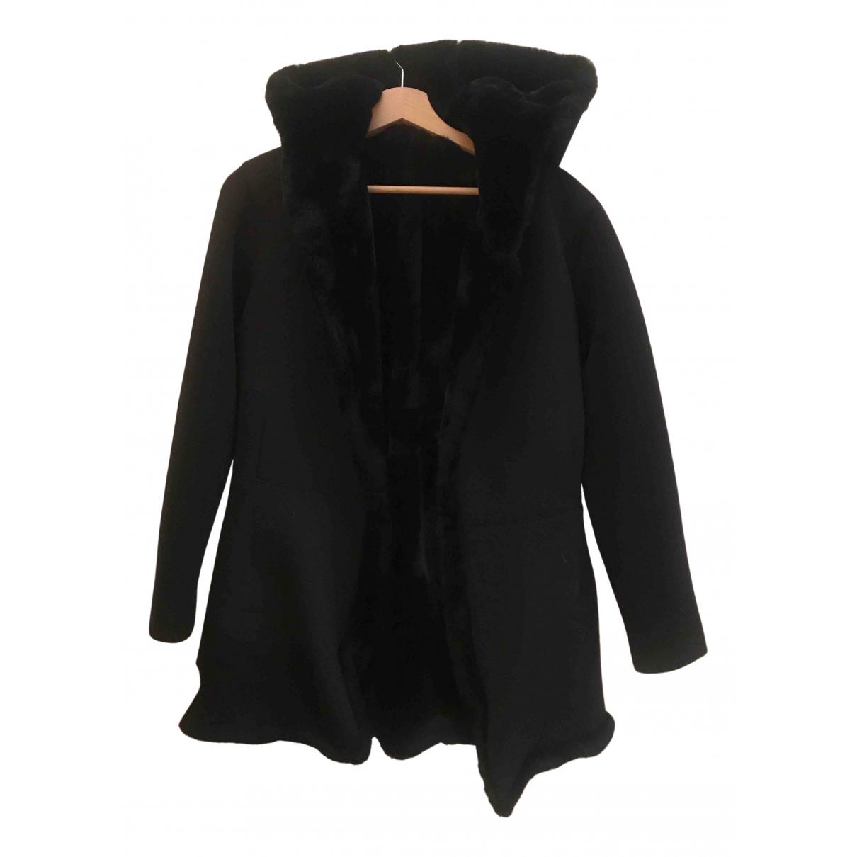 - Veste Epaulettes pour femme en fourrure synthetique - noir