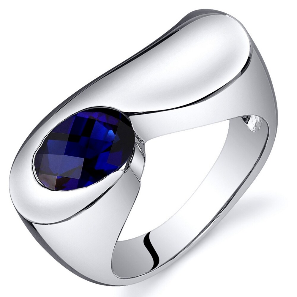 Created Blue Sapphire Ring in Sterling Silver 1.75 Carats (8)
