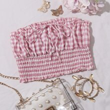 Gingham Ruched Tie Front Shirred Tube Top