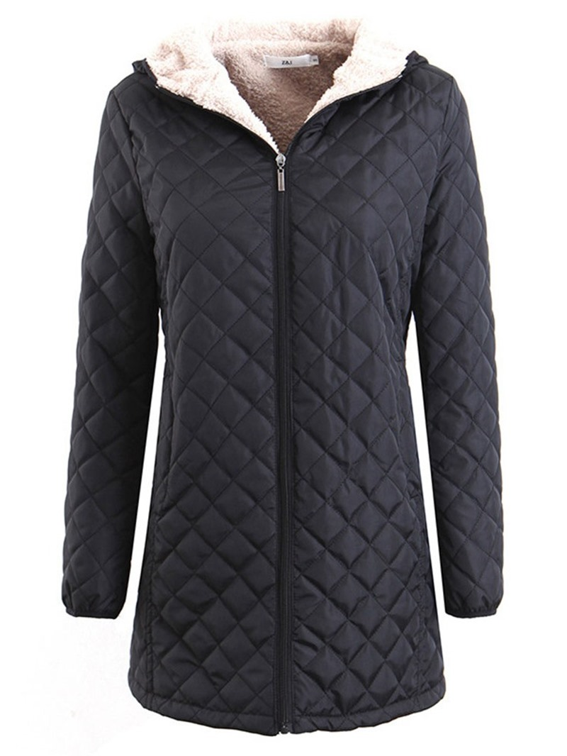 Ericdress Thick Zipper Slim Mid-Length Cotton Padded Jacket