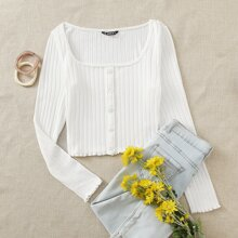 Plus Square Neck Buttoned Front Textured Knit Tee