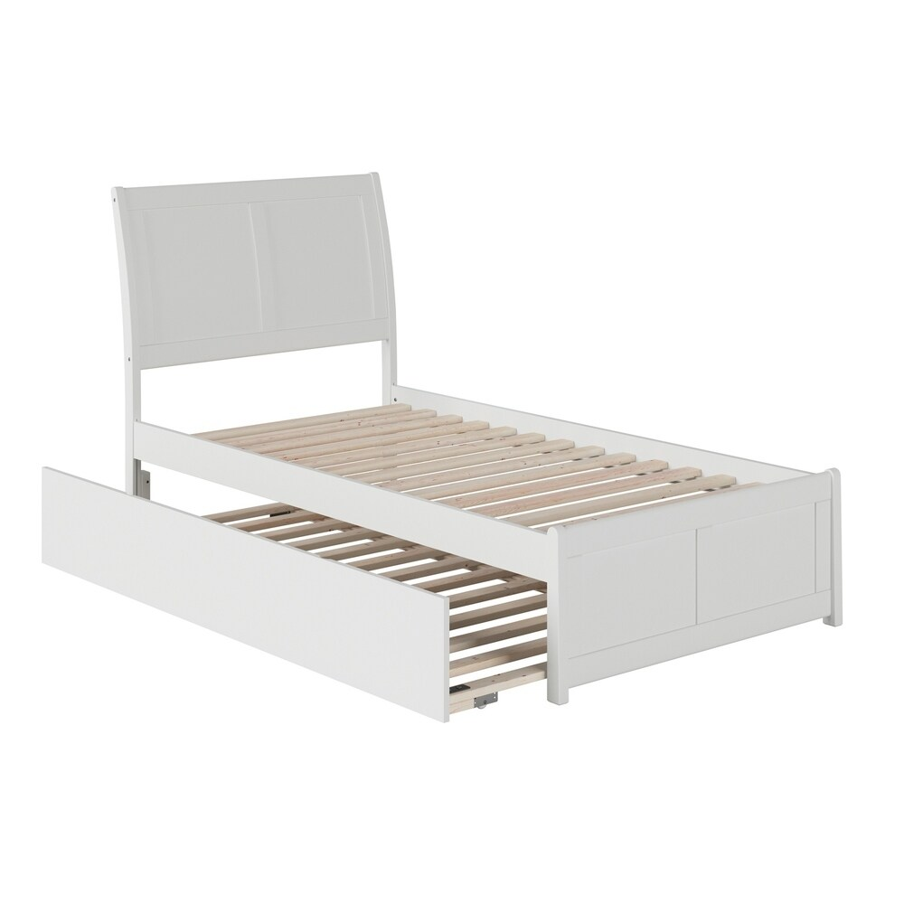 Portland Twin Platform Bed with Matching Foot Board with Twin Size Urban Trundle Bed in White (Twin)