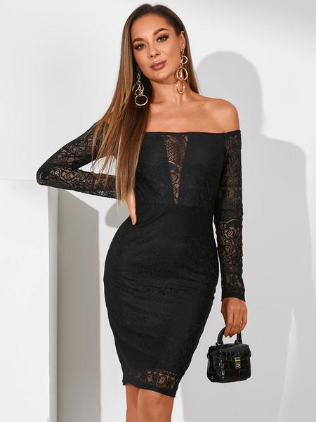 YOINS Black Lace Off The Shoulder Long Sleeves Midi Dress