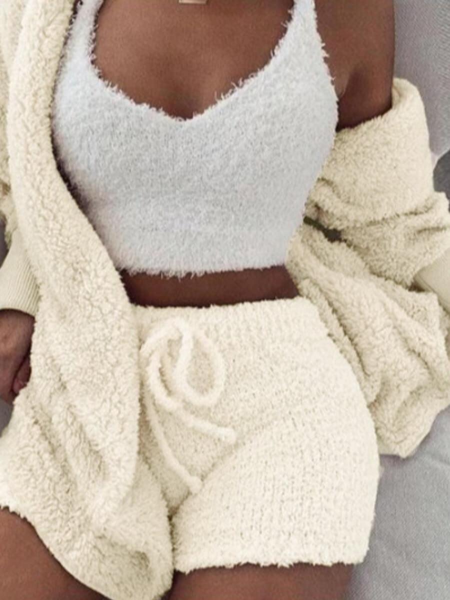 LW Lovely Stylish Lamb Fleece White Sleepwear(Three-piece