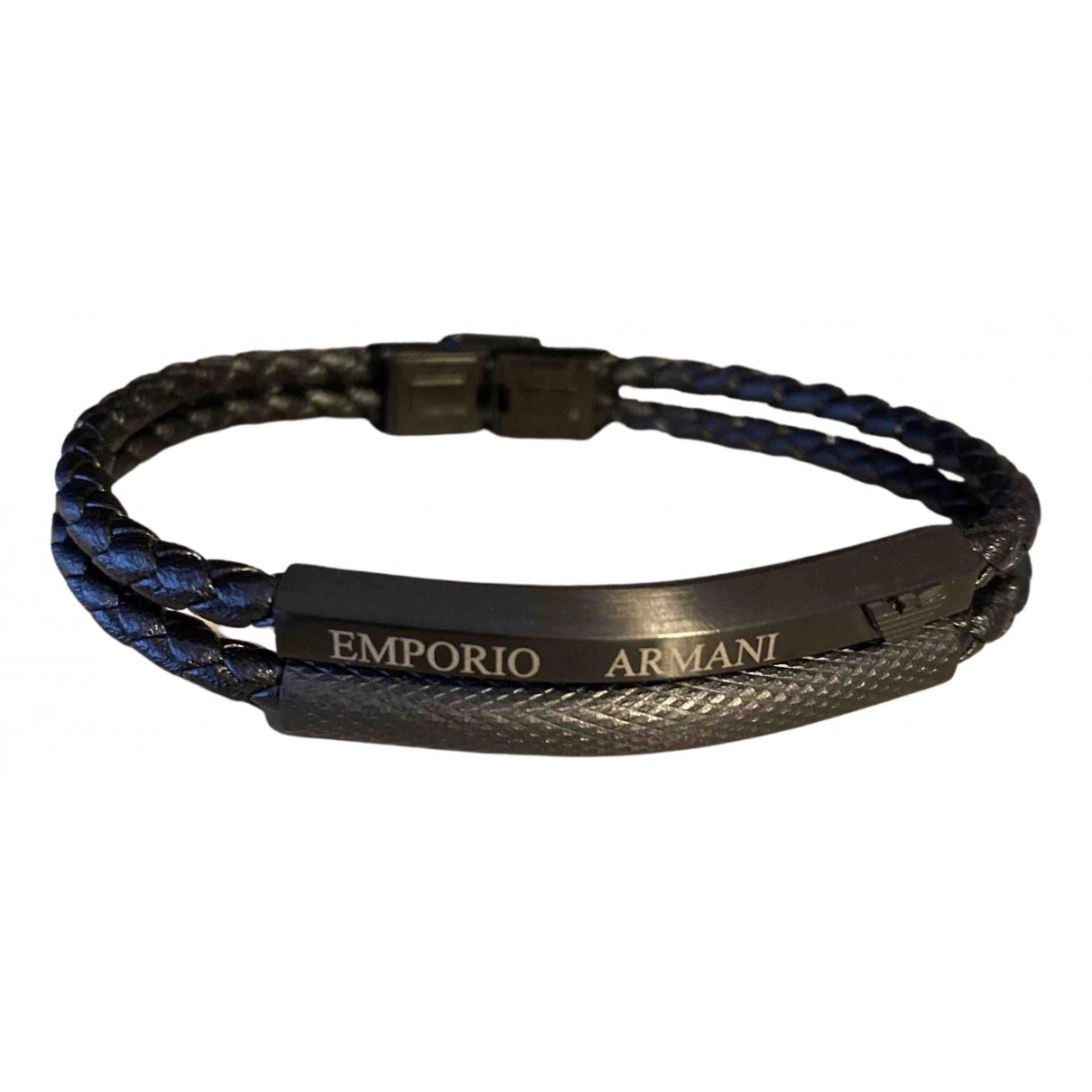 Emporio Armani - Bijoux   pour homme en cuir - noir