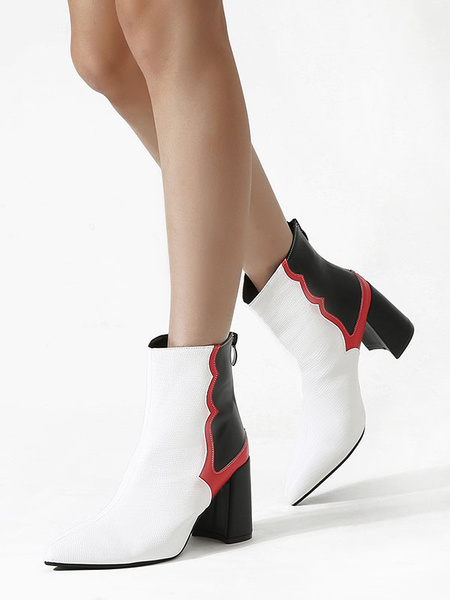 Milanoo Women Ankle Boots White PU Leather Square Toe Modern Shoes
