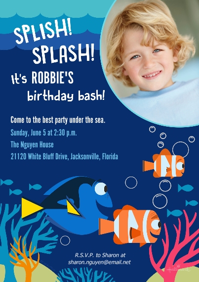 Kids Birthday Party 5x7 Cards, Premium Cardstock 120lb with Scalloped Corners, Card & Stationery -Dory & Nemo Birthday