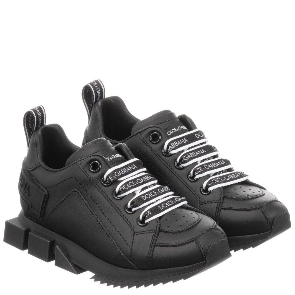 Dolce & Gabbana Leather Logo Trainers Colour: BLACK, Size: EU37