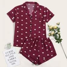Allover Heart Print Pocket Front Pajama Set