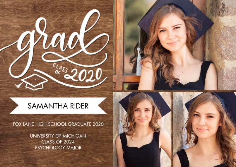 2020 Graduation Announcements 5x7 Cards, Premium Cardstock 120lb with Scalloped Corners, Card & Stationery -Grad Class of 2020 Banner by Tumbalina