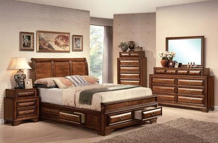 Konane Collection 20450Q5PCSET 5 PC Bedroom Set with Queen Size Bed  Dresser  Mirror  Chest and Nightstand in Brown Cherry