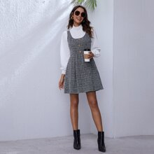 Button Front Tweed Sleeveless Dress