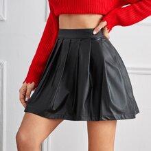 PU Mini Pleated Skirt