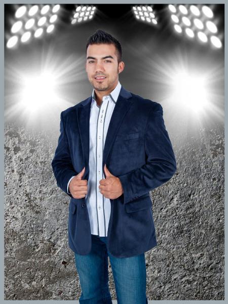 2 Button Sport Jacket Navy Blue Velvet / Velour Sport coat Blazer