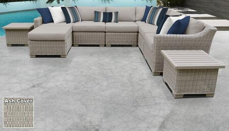 Coast Collection COAST-09c-ASH 9-Piece Patio Set 09c with 1 Corner Chair   3 Armless Chair   1 Ottoman   2 End Table   1 Left Arm Chair   1 Right Arm