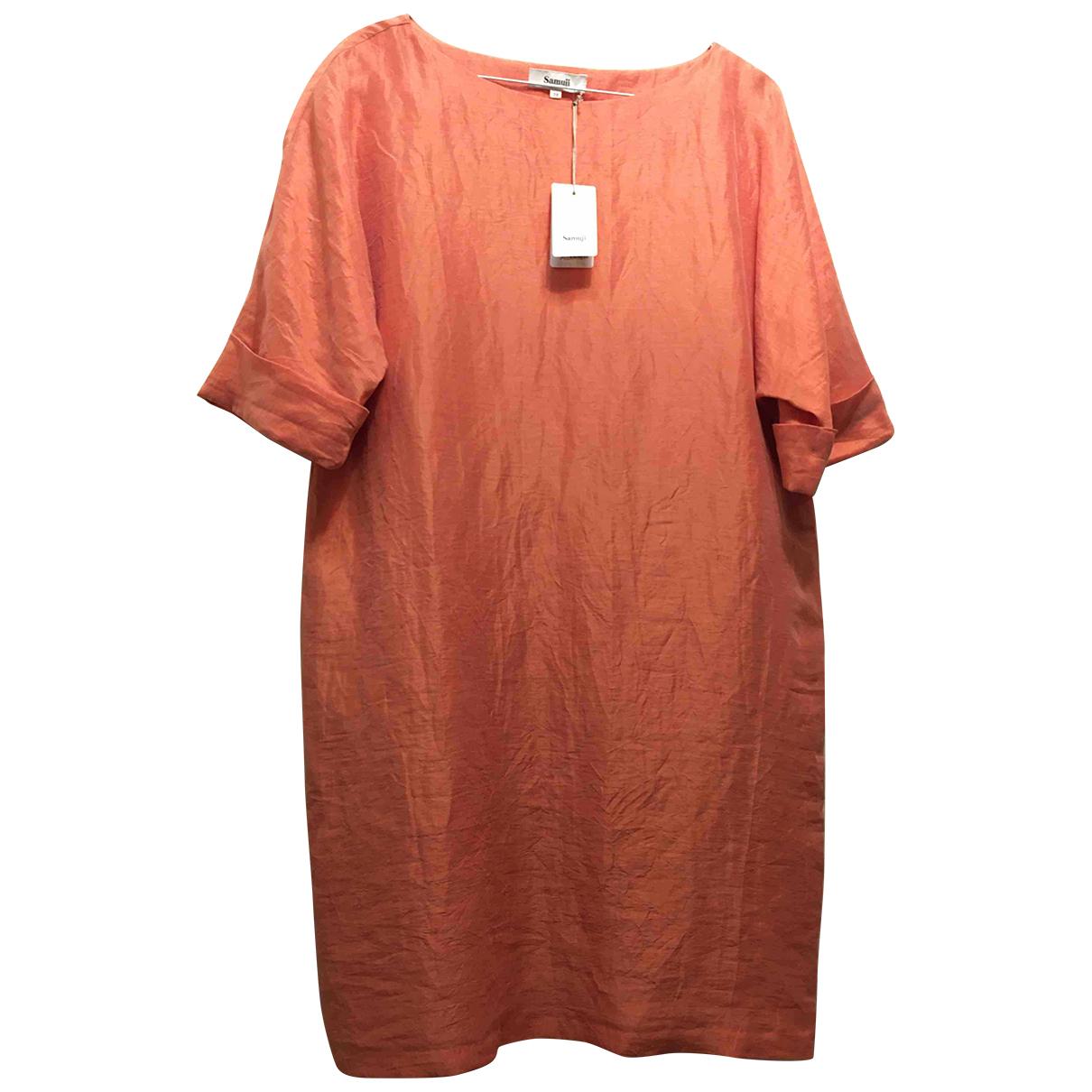 Samuji - Robe   pour femme en lin - rose