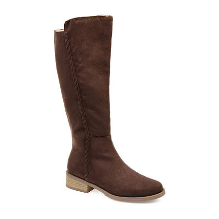 Journee Collection Womens Blakely Stacked Heel Zip Riding Boots, 9 Medium, Brown