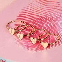 Heart Design Letter Decor Ring Set 4pcs