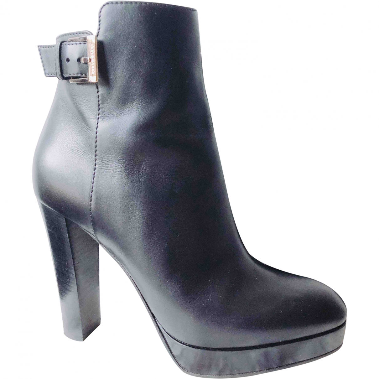 Sergio Rossi \N Black Leather Ankle boots for Women 36.5 EU