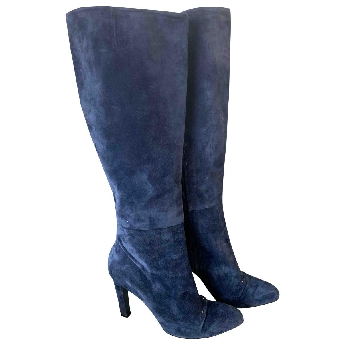 Roger Vivier \N Blue Suede Boots for Women 37 EU