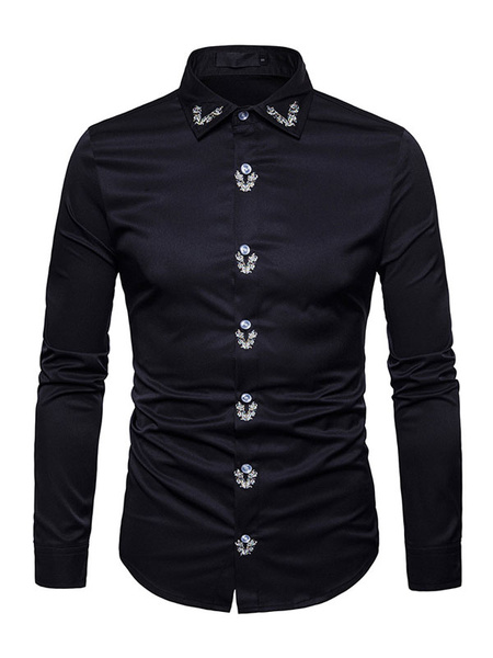 Milanoo Men Casual Shirt Embroidered Cotton Shirt Long Sleeve Spring Shirt