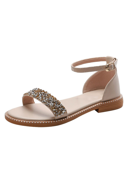 Milanoo Woman\'s Flat Sandals Rhinestones Flat PU Leather Casual Ankle Straps Flats