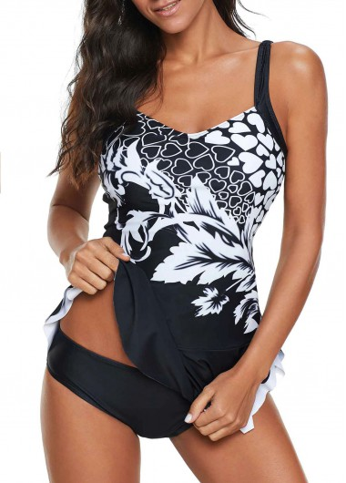 Rosewe Women Black Swimdress And Panty Scoop Back Printed Ruffle Detail Swimdress and Panty - XL