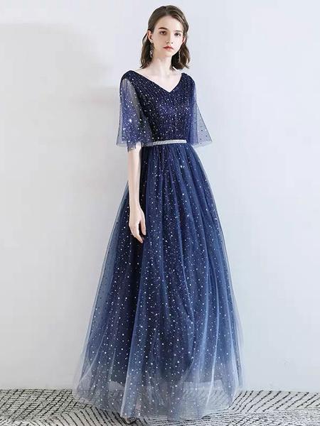 Milanoo Dark Navy Prom Dress V Neck A Line Half Sleeves Floor Length Sash Tull Party Dresses